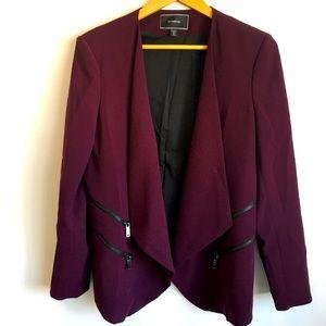 Le Chateau maroon shawl collar blazer
